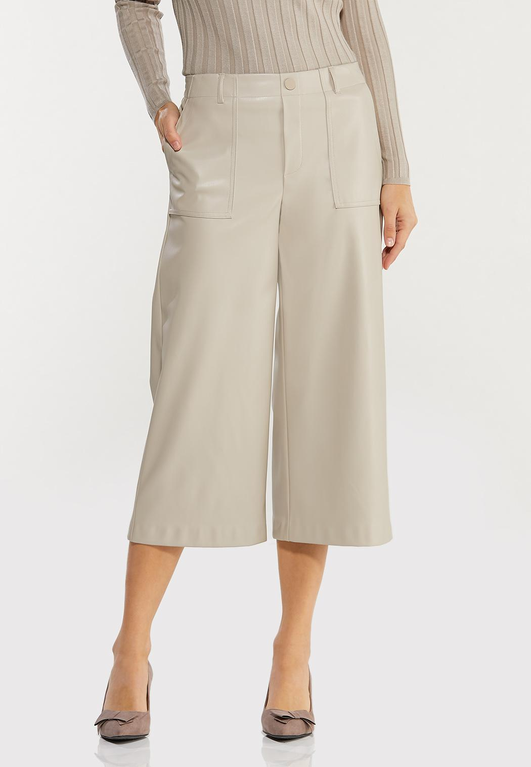 Cropped Faux Leather Pants