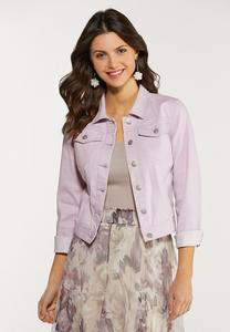 Plus Size Lavender Denim Jacket