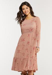 Plus Size Mesh Floral Midi Dress