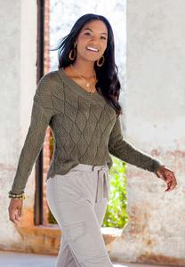 Plus Size Green Pointelle Sweater