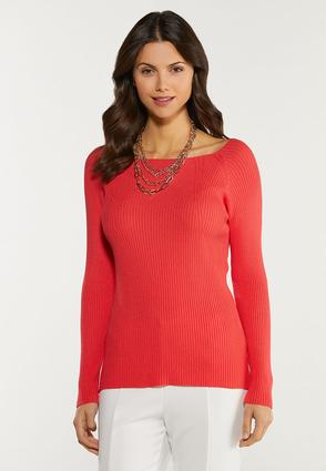 Plus Size Boat Neck Sweater