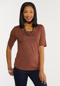Plus Size Slim Scoop Neck Tee