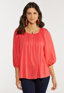 Plus Size Spice Coral Balloon Sleeve Top