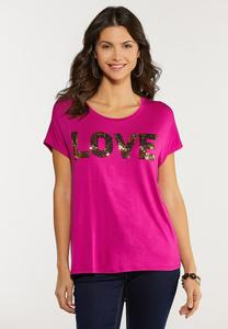 Gold Sequin Love Tee