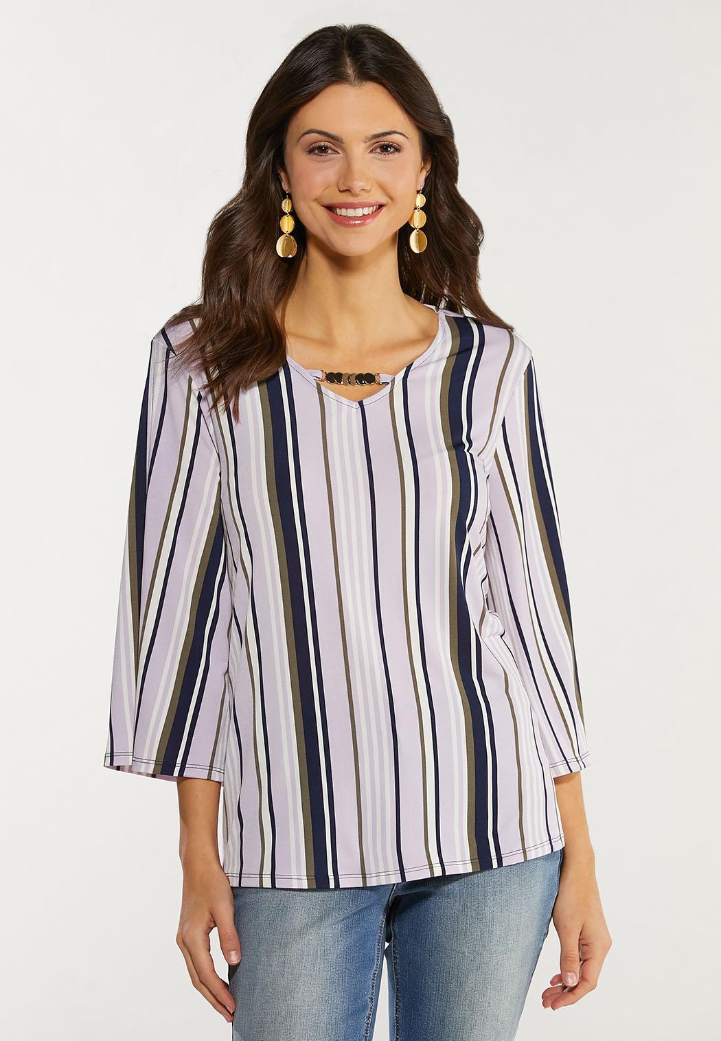 Plus Size Embellished Lavender Stripe Top