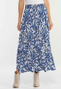 Plus Size Tiered Paisley Maxi Skirt