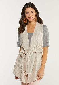 Plus Size Textured Belted Vest