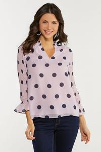 Plus Size Lavender Polka Dot Top