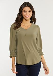 Green Smocked Cuff Top