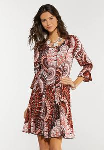 Plus Size Seamed Medallion Dress