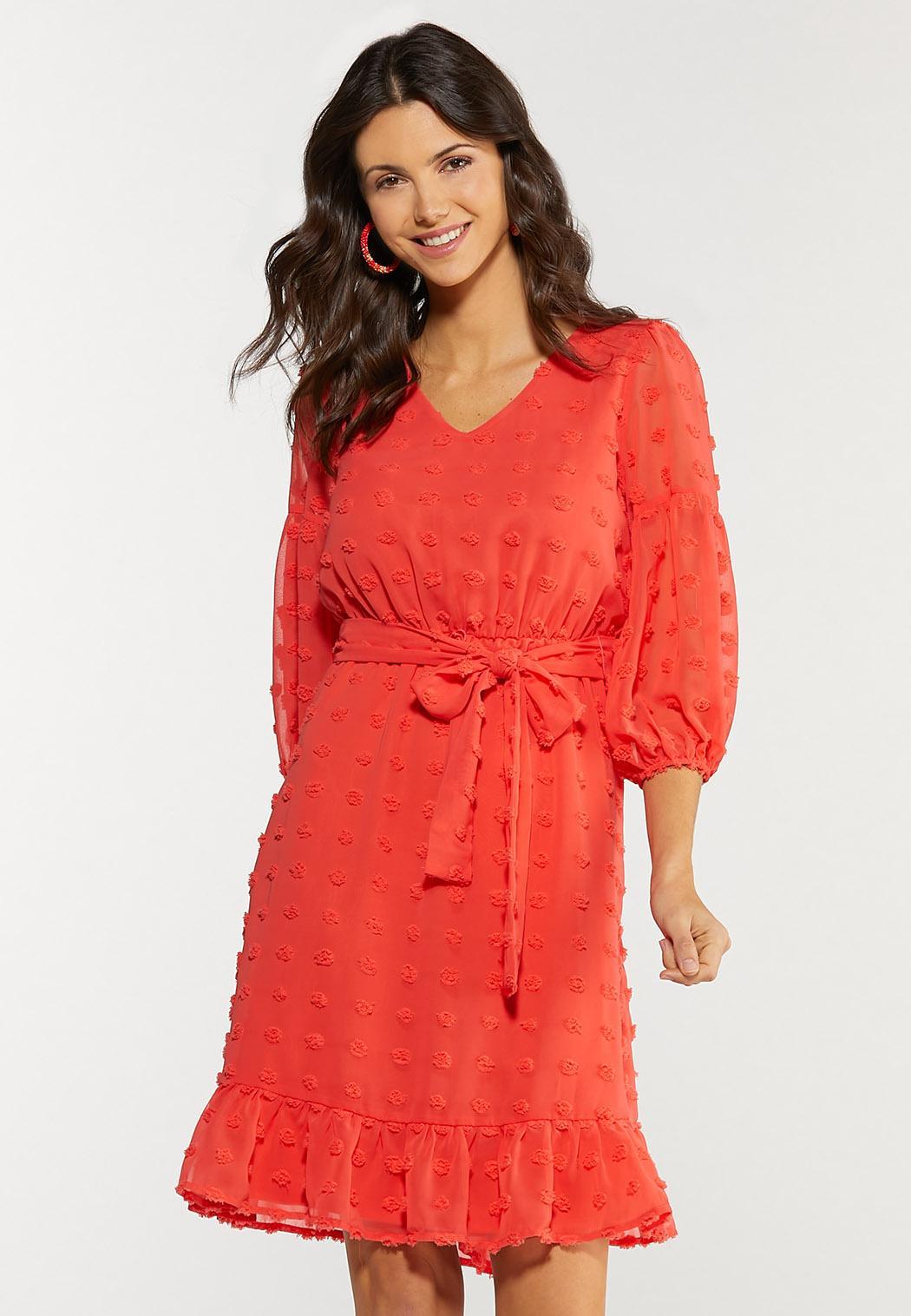 Plus Size Textured Dot Tie Waist Dress