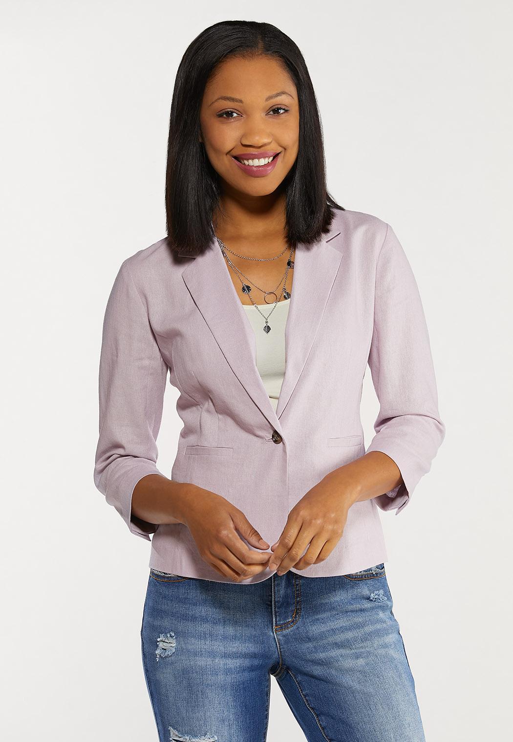 Plus Size Solid Linen Blazer