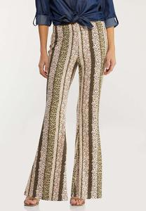 Stripe Floral Flare Pants