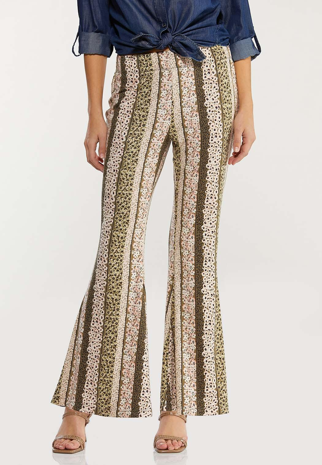 Petite Stripe Floral Flare Pants