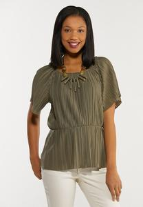 Plus Size Pleated Peplum Top