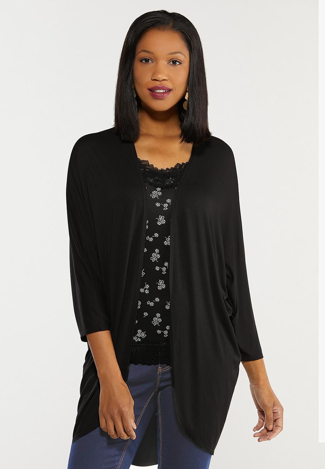 Plus Size Black Draped Cardigan