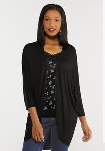 Plus Size Black Draped Cardigan