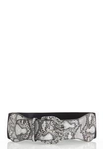 Plus Size Snakeskin Buckle Stretch Belt