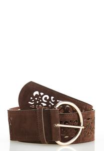 Plus Size Faux Suede Laser Cut Belt