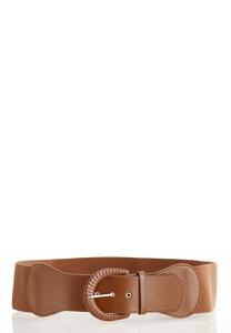 Plus Size Cognac Stretch Buckle Belt