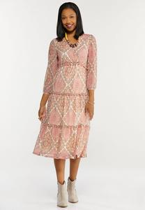 Plus Size Rose Medallion Mesh Midi Dress