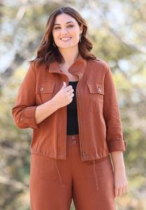 Plus Size Linen Utility Jacket