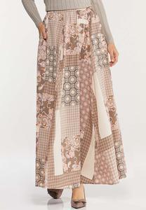 Plus Size Medallion Patchwork Maxi Skirt
