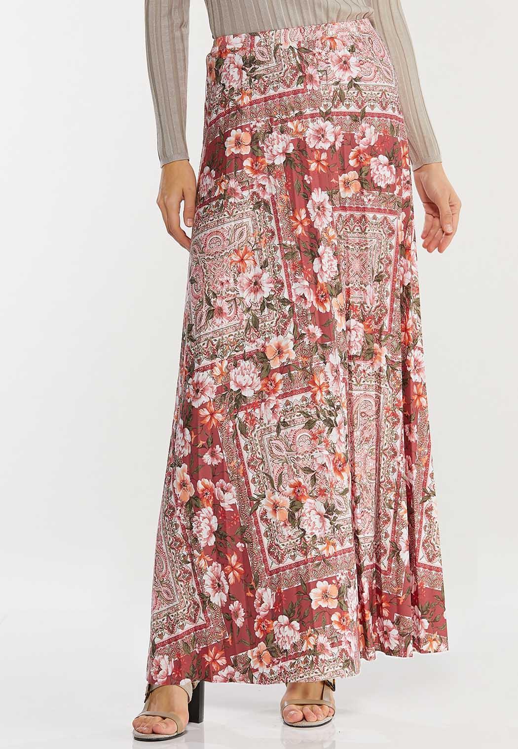 Plus Size Vintage Floral Maxi Skirt