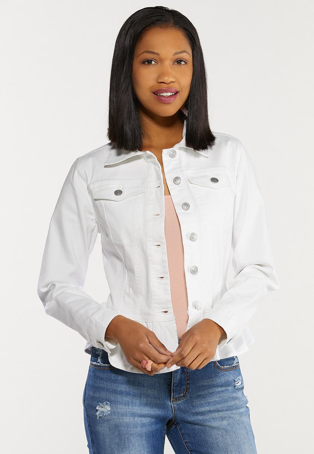 Plus Size White Peplum Denim Jacket