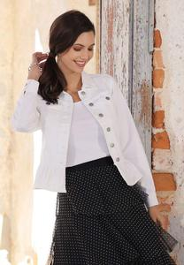 Plus Size White Peplum Denim Jacket