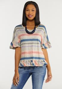 Plus Size Brushed Stripe Ruffled Top