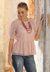 Plus Size Lacy Peplum Puff Sleeve Top