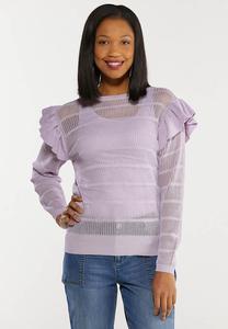 Striped Ruffled Sleeve Sweater