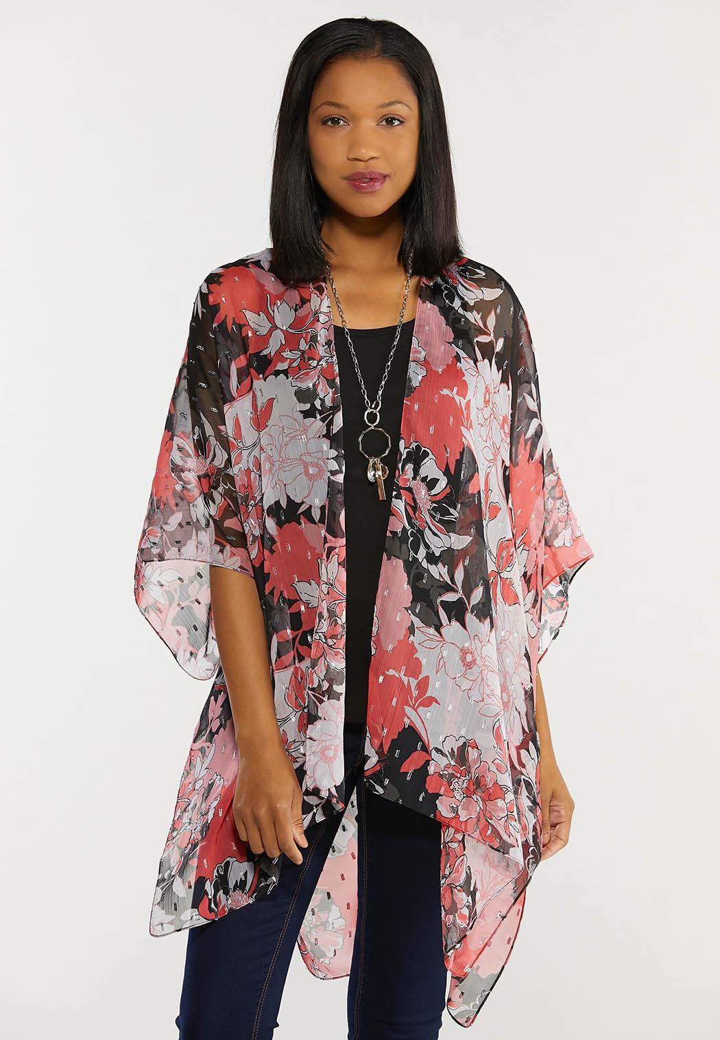 Metallic Detail Floral Kimono