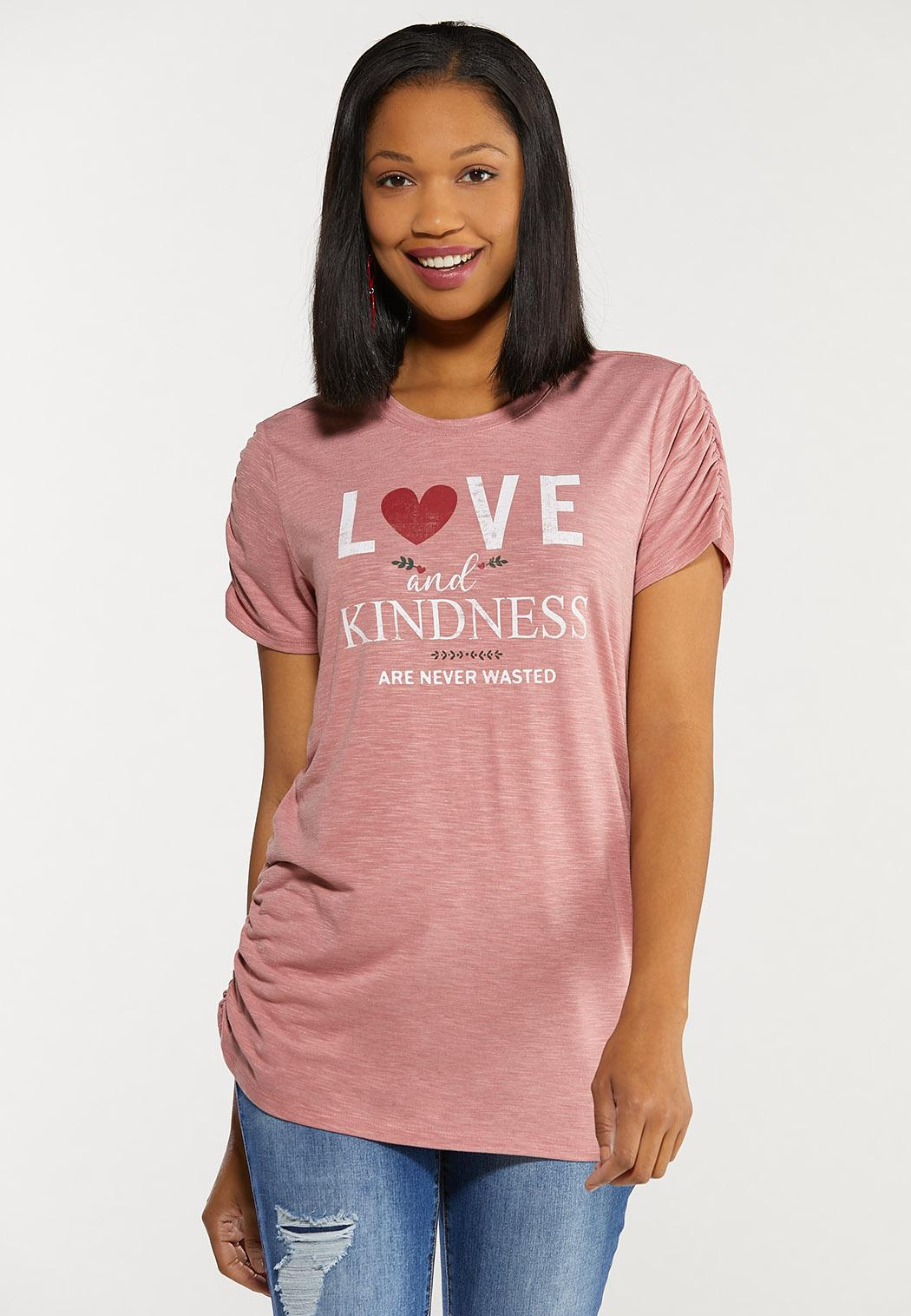 Plus Size Love Kindness Shirred Trim Top