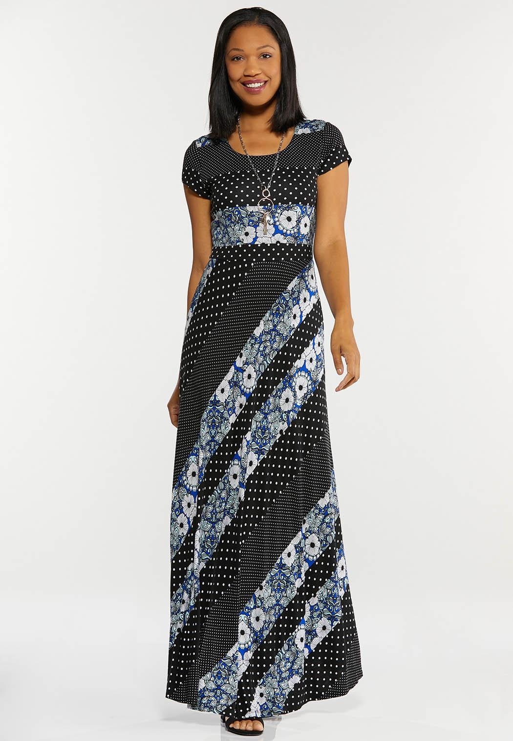 Petite Mixed Print Maxi Dress