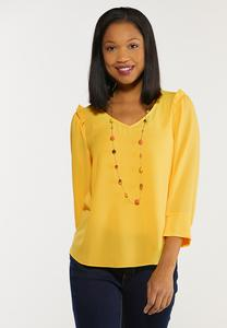 Plus Size Gold Ruffled Shoulder Top