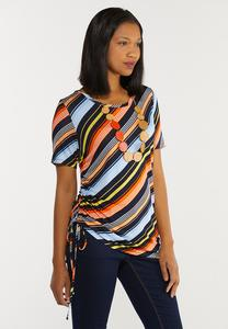 Plus Size Striped Drawstring Side Top