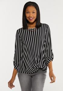 Plus Size Twisted Stripe Top
