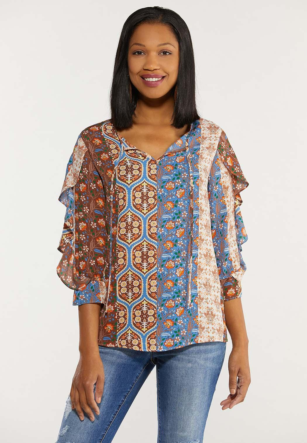 Plus Size Patchwork Ruffled Poet Top