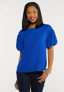 Plus Size Tie Back Puff Sleeve Top