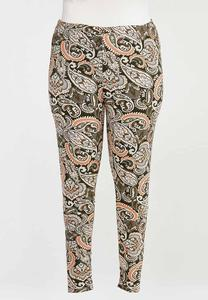 Plus Size Coral Paisley Leggings