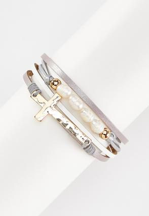 Gold Cross Magnetic Wrap Bracelet