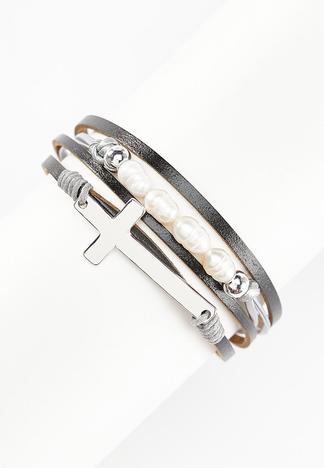 Silver Cross Magnetic Wrap Bracelet
