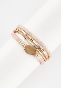 Strappy Faux Leather Druzy Bracelet