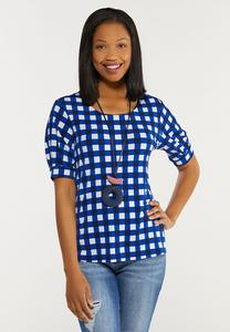 Plus Size Blue Checkered Top