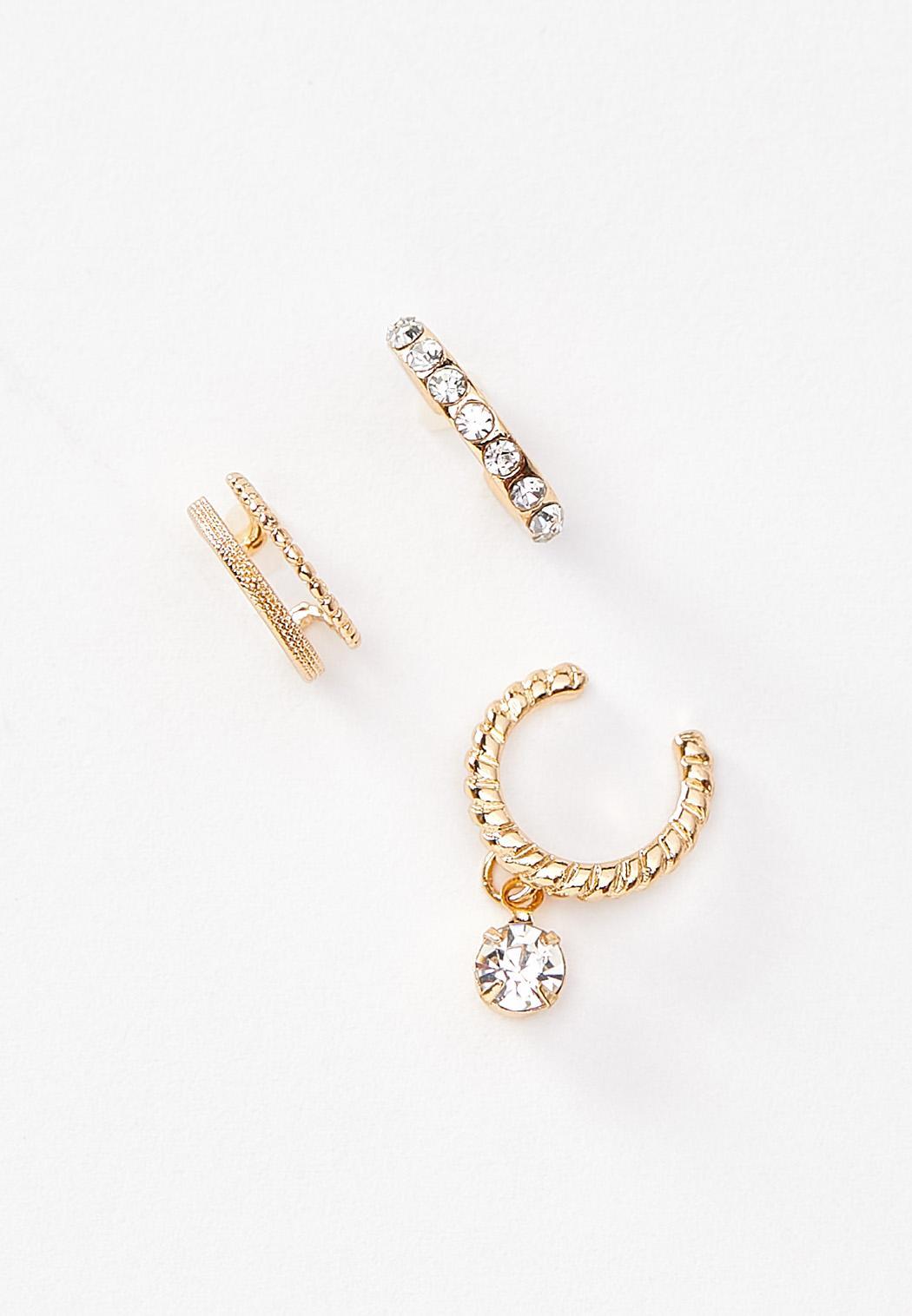 Mixed Gold Cuff Earrings