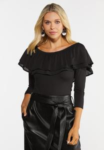 Plus Size Ruffled Off Shoulder Bodysuit