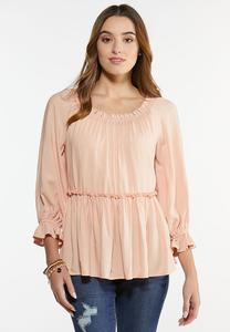 Plus Size Blush Ruffled Poet Top