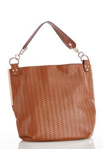 Woven Effect Hobo Handbag